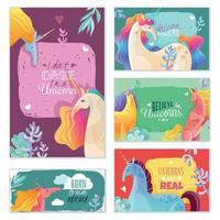Unicorn Magic Cards Vector Illustration