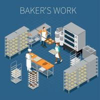 Bakers Factory Isometric Background Vector Illustration