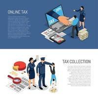 Tax Inspectors Banners Vector Illustration