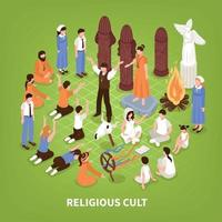 Isometric Religious Cult Background Vector Illustration