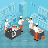 Cook Duties Isometric Composition Vector Illustration