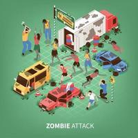 Ilustración de vector de fondo isométrico de apocalipsis zombie