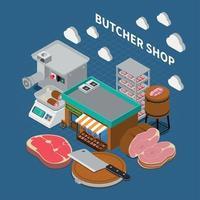 Butchers Shop Isometric Background Vector Illustration
