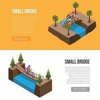 Bridges Isometric Banners Vector Illustration