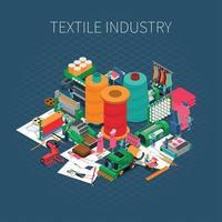 Isometric Textile Print Background Vector Illustration