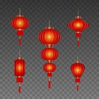 set of isolated chinese lanterns vector