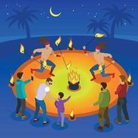 Fire Show Composition Vector Illustration