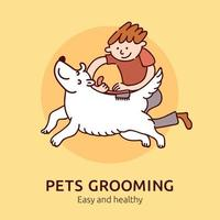 Pet Grooming Poster Vector Illustration