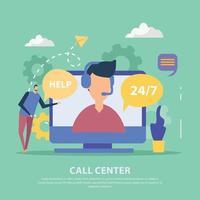 Call Center Flat Background Vector Illustration