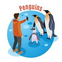 Photo With Penguins Background Vector Illustration