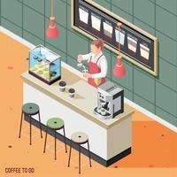 Street Coffee Isometric Background Vector Illustration