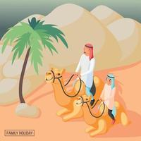 Arabic Family Background Vector Illustration
