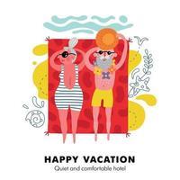 Elderly Beach Vacation Poster Vector Illustration