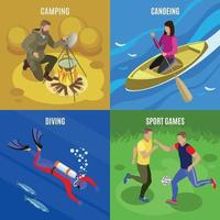 Outdoor Activities Concept Icons Set Vector Illustration