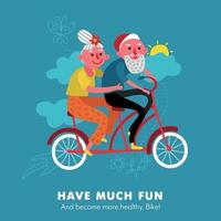 Elderly Bike Holiday Cartoon Vector Illustration