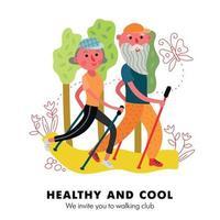 Elderly Couple Activity Poster Vector Illustration