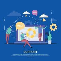 Customer Support Center Flat Background Vector Illustration