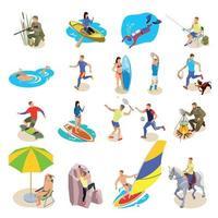 Outdoor Activities Icons Set Vector Illustration