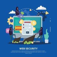 Web Security Flat Background Vector Illustration