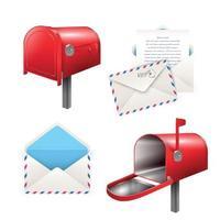 Realistic Postal Elements Set Vector Illustration