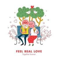 Elderly Couple Love Poster Vector Illustration