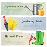Banners horizontales de jardinería conjunto ilustración vectorial vector