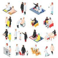 Arabic Family Icons Set Vector Illustration