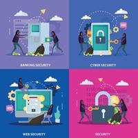 Cyber Security Flat Design Concept Vector Illustration