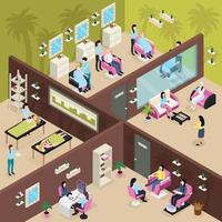 Beauty Center Isometric Composition Vector Illustration