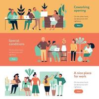 Coworking People Banners Set Vector Illustration