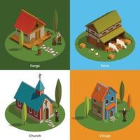 Ilustración de vector de concepto isométrico de asentamientos medievales