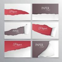 tarjetas de papel rasgadas conjunto realista ilustración vectorial vector