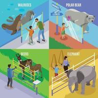 Zoo Animals Isometric Design Concept Vector Illustration