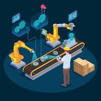 Industrial Augmented Reality Isometric Composition Vector Illustration