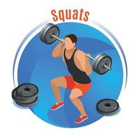 Squats With Barbell Isometric Background Vector Illustration