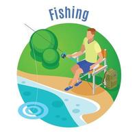 Fishing Isometric Composition Vector Illustration