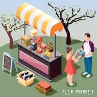 Flea Market Isometric Background Vector Illustration