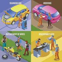 Auto Service Concept Icons Set Vector Illustration
