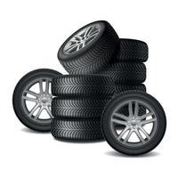 Car Wheels Realistic Design Concept Vector Illustration