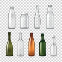Realistic Glass Bottles Transparent Set Vector Illustration