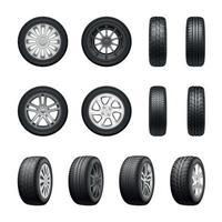 Tires Wheels Realistic Set Vector Illustration