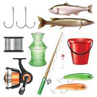 Realistic Fishing Gear Set Vector Illustration