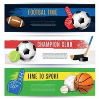 Sport Horizontal Banners Collection Vector Illustration