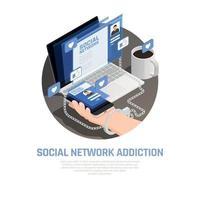 Social Networks Isometric Background Vector Illustration
