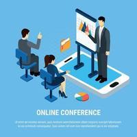 Online Conference Business Background Vector Illustration