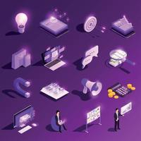 Marketing Glowing Icons Collection Vector Illustration