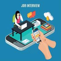 Business Recruitment Isometric Concept Vector Illustration