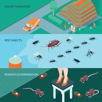 Ilustración de vector de banners isométricos de desinfección doméstica