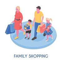 Family With Purchases Isometric Composition Vector Illustration