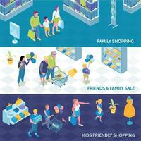 Family Shopping Isometric Banners Vector Illustration